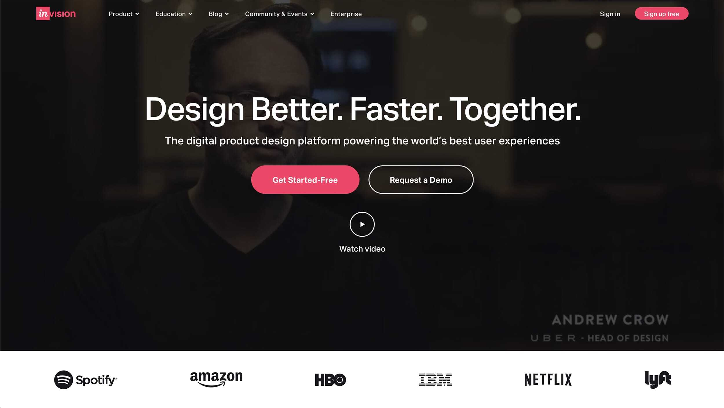 Invision Website Landing Page