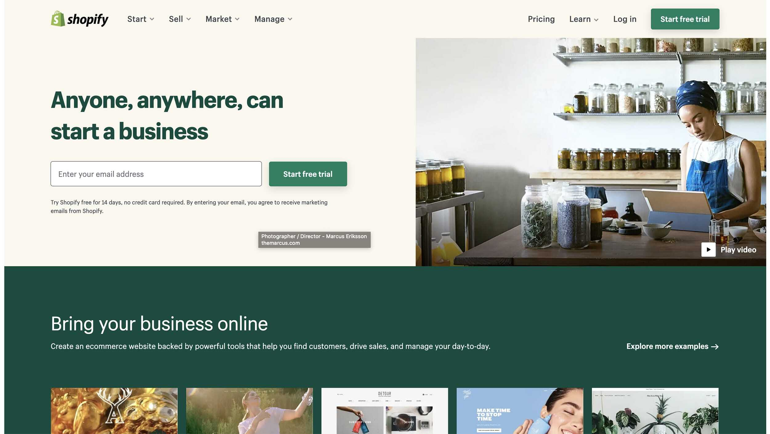 Shopify Website Landing Page