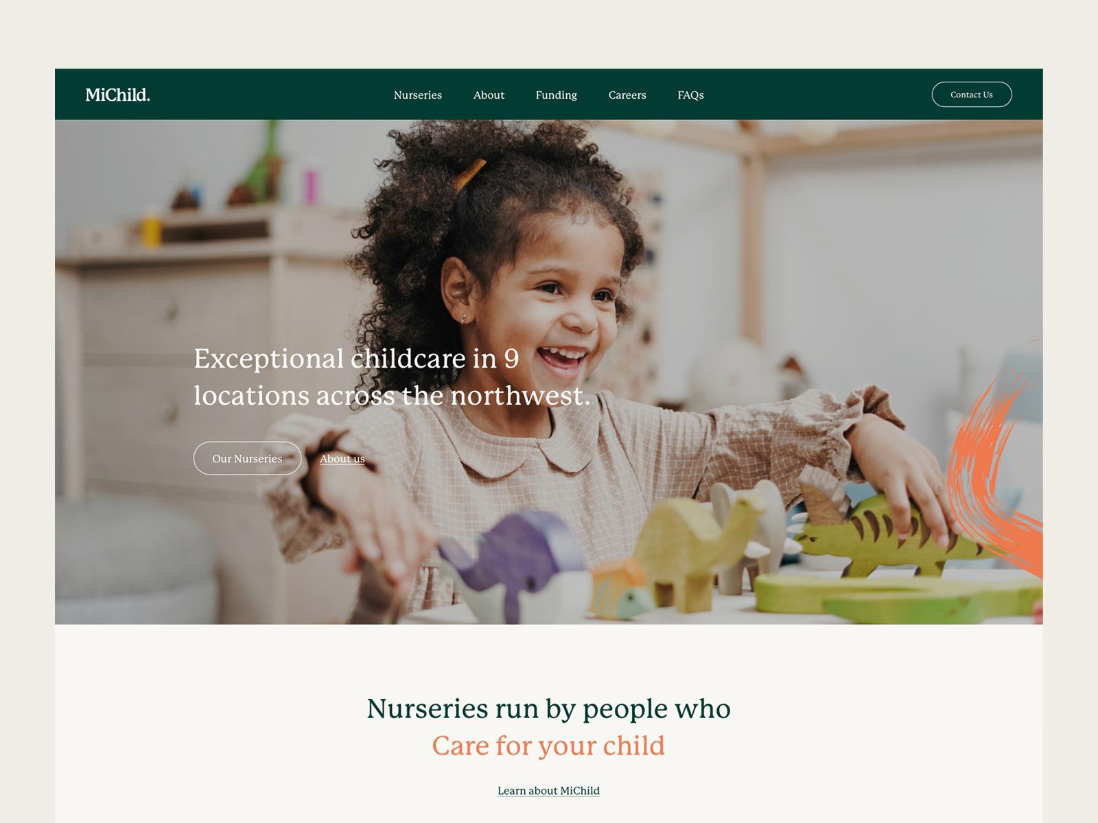 MiChild homepage design